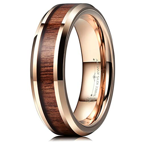 Comfort Flat Wedding Fit Band - THREE KEYS JEWELRY 6mm Tungsten Wedding Ring with Koa Wood Inlay Rose Gold Flat Wedding Band Engagement Ring Comfort Fit Size 7.5