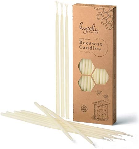 """Hyoola Beeswax Skinny Taper Candles – 50 Pack - Natural Dripless Decorative Candles with Long Lasting Burn – Elegant Taper Design, Soothing Scent – 9"""" Tall – Handmade in The USA"""