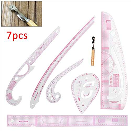 great-fyl Plastic Multifunction Sewing Measure Ruler Tools Curve Metric Rulers for DIY Clothing Dress Making 7Pcs