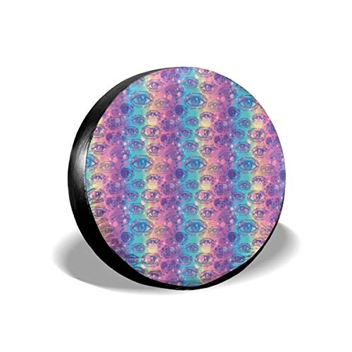 GULTMEE Tire Cover Tire Cover Wheel Covers,Mardi Gras Celebration Beads in Graphic Style On Diamond Line Pattern,for SUV Truck Camper Travel Trailer Accessories(14,15,16,17 Inch) 14