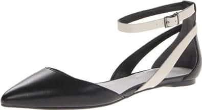 Enzo Angiolini Women's Christaz Ballet Flat,Black/White,7 M US