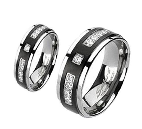 2 Pc His & Hers Black Titanium CZ Accent Wedding Band Ring Set Sizes 6-13 (Women's 6mm Size 7 & Men's 8mm Size 10)