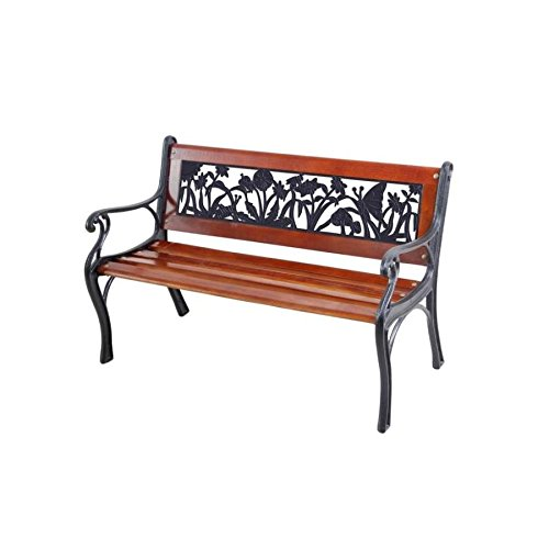Garden Treasures 15.8-in W x 20.2-in L Brown/Black Wrought Iron Children's Patio Bench by Garden Treasures
