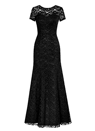 Dresstells Long Lace Bridesmaid Dress Short Sleeved Evening Party Dress Black Size14