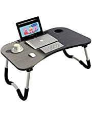 Folding Bed Laptop Table Tray Lap Desk Notebook Stand with ipad Holder Cup Slot Adjustable Anti Slip Legs Foldable for Indoor Outdoor Camping Study Eating Reading (Black)