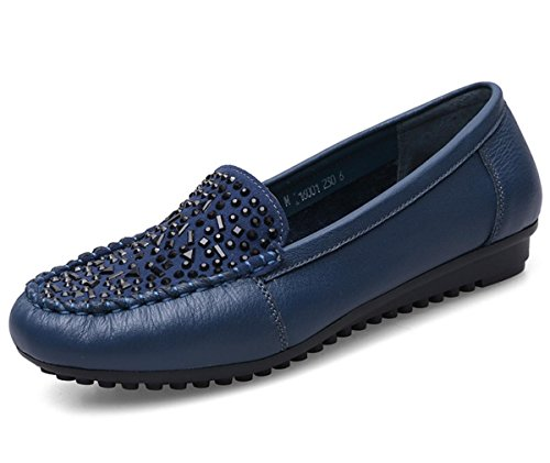 Pelle Comfort 4 eur36uk354 Stoffa Eur Di Pattini 5 37 uk Nvxie Delle Blue New Donne Spring Molle Bottom Festa Black Genuino 5 Fall Loafer Cuoio Work Singoli Antiscivolo wq8gwzp