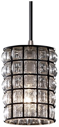 Justice Design Group Wire Glass 1-Light Pendant - Brushed Nickel Finish with Grid with Clear Bubbles Wire Cage with Blown Glass (Justice Design Nickel Pendant)