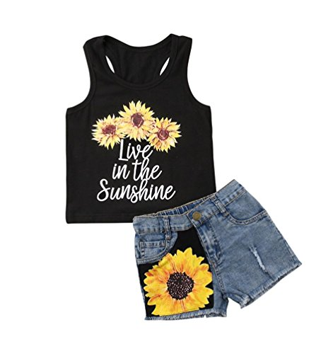 - 2Pc Baby Girl Sunflower Clothes Outfits Kids T-Shirt Tops+Denim Jeans Pants Shorts Set