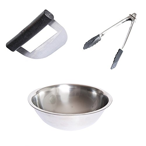 Stainless Steel Salad Chopper and Bowl Set, With Stainless Steel Salad Tongs (1)