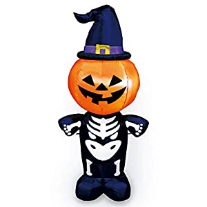 Joiedomi Halloween 5 FT Inflatable Pumpkin Skeleton with a Witch Hat with Build-in LEDs Blow Up Inflatables for Halloween Party Indoor, Outdoor, Yard, Garden, Lawn Decorations