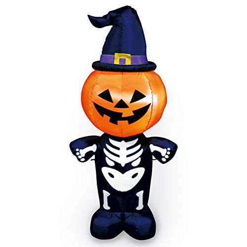 Joiedomi Halloween Inflatable Blow Up Pumpkin Skeleton with
