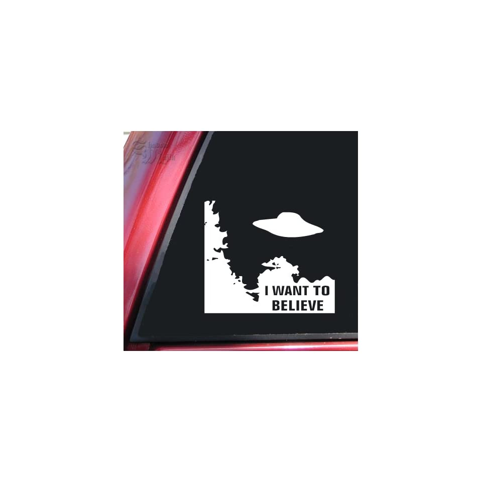 X Files I Want To Believe White Vinyl Decal Sticker