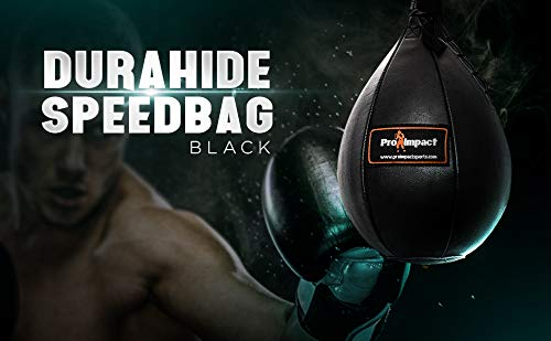 Pro Impact Durahide Speedbag Black - Durable Hanging Swivel Punch Ball for Boxing MMA Muay Thai Fitness or Fighting Sport Training 4
