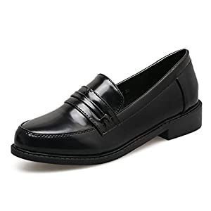 Meeshine Women's Leather Penny Loafer Comfort Casual Slip On Dress Shoes