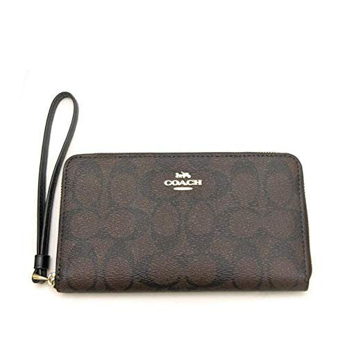 Coach Signature Printed PVC Phone Wallet Wristlet (Black/Brown)