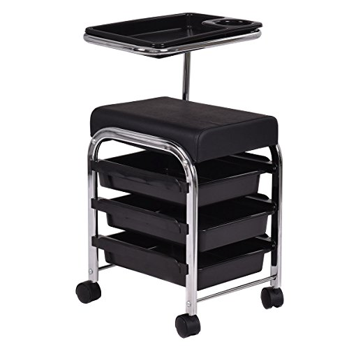 (Giantex Black Pedicure Manicure Nail Cart Trolley Stool Chair Salon SPA With Shelves)