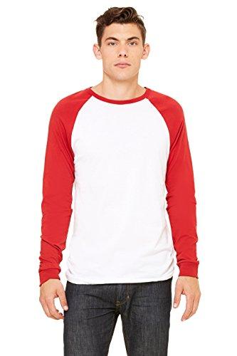 Bella mens Jersey Long-Sleeve Baseball T-Shirt(3000C)-WHITE/ CANVAS RD-S