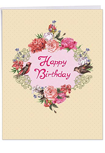 (J6577GBDG Jumbo Funny Birthday Greeting Card: Birds and Blossoms, Featuring a Beautiful Arrangement of Peonies and the Flower's Fine Feathered Friends, With Envelope (Large Size: 8.5