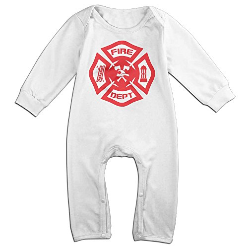 Dara Firefighter Rescue Symbol Boy's & Girl's Long Sleeve Romper Bodysuit Outfits White 18 (Bruce Lee Costume Diy)