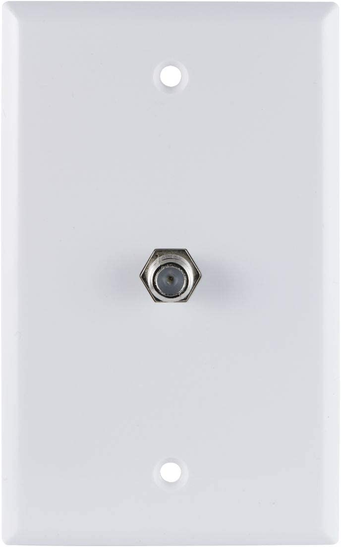 GE Coaxial Cable Wall Plate, 1 Coax F Type Connector, Single Gang, White, Installation Hardware Included, 35318