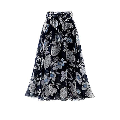 Zlolia Floral Print Bohemian Skirt for Women Belt High Waist Plain Chiffon Midi Swing Skirt for Everyday Party Work Black