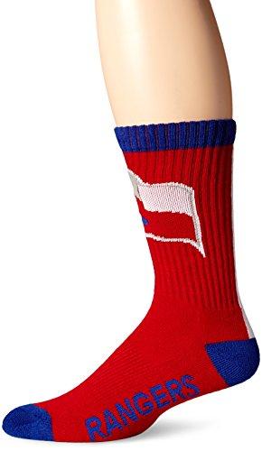 MLB Texas Rangers Men's Bolt Sport Casual Dress Crew Socks (1 Pack), Large, Royal
