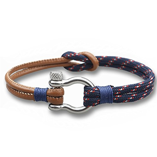 Happiness Jewelry Nylon Paracord & PU Leather Double Rope Sailing Bracelet With Nautical Stainless Steel Anchor Shackle Clasp (Navy (Leather And Metal Bracelet)