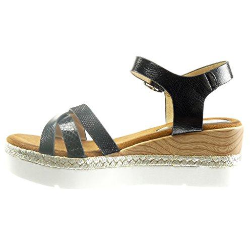 Angkorly - Chaussure Mode Sandale Espadrille plateforme ouverte femme peau de serpent bois corde Talon compensé plateforme 6 CM - Noir