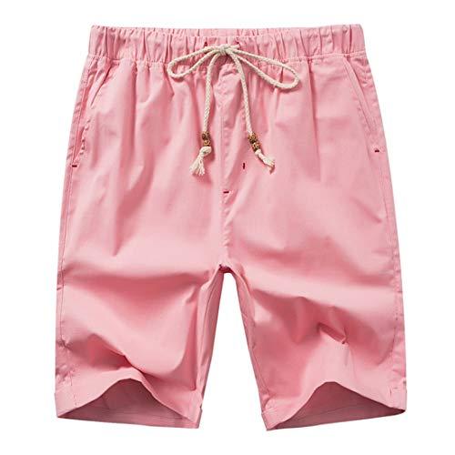 de de Flojos de Lino los Pantalones Playa STAZSX Casuales Cortos de de Apparel Rosa Pantalones Color algodón Hombres Lino Rosa y Pantalones Pantalones qFpfHp60