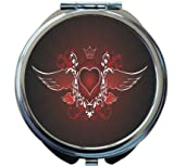 Rikki Knight Love Heart Wings Design Round Compact Mirror