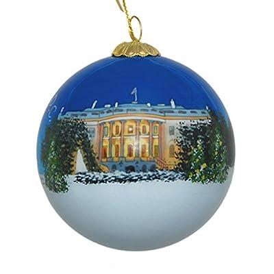 Hand Painted Glass Christmas Ornament - Washington D. C. - White House Christmas