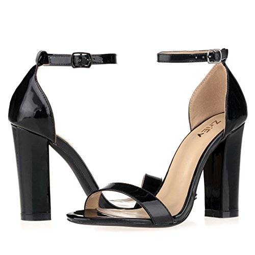 Strap Black Pump Strappy Fashion Open Chunky ZriEy Women's Shoes Block Sandals Toe Ankle Heel High vxRpfq