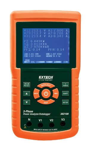 Quality Power Phase Three Analyzer - Extech 382100 1200A 3-Phase Power Analyzer/Datalogger