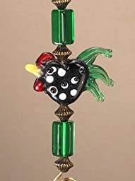 French Country Green Rooster Lampwork Glass Light or Ceiling Fan Pull