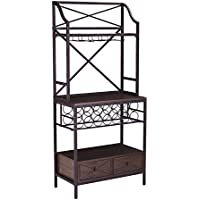 Furniture HotSpot - Bakers Rack with Wine Storage - Rustic Brown w/ Dark Distressed Pine - 28 W x 15.5 D x 63.5 H