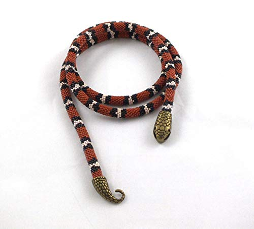 Long beaded rope necklace with coral snake skin print,beaded necklace for Halloween party
