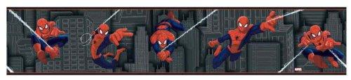 York Wallcoverings ZB3258BD Ultimate Spiderman Border, Charcoal/Red/White/Indigo Blue (Ultimate Book Wallpaper Mural)