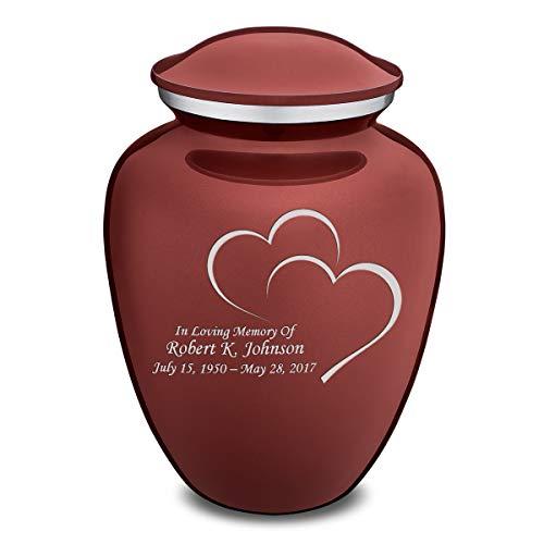 GetUrns Adult Embrace Red Hearts with Custom Engraving Cremation Urn ()
