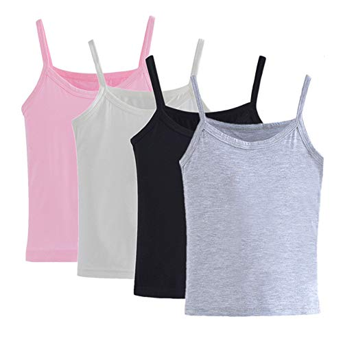 Anktry 1-7 Years Little Girls Solid Colors Soft Cotton Camisole Undershirts 4 Pack Kids Comfortable Breathable Tank Tops (Colors-2, 5-6 Years)