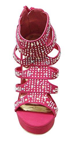 Eye Candie Ruby-303 Donna Open Toe Platform In Rilievo Strappy Tacco Alto In Pelle Scamosciata Con Tacco A Spillo Sandali Tacco Alto Fucsia