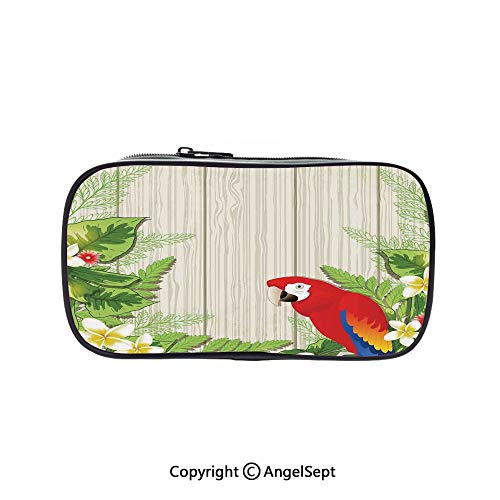 Big Capacity Pencil Case 1L Storage,Tropic Flowers and African Parrot in Summer Garden Wooden Wall Ferns Decorative Art Cream Green Red 5.1inches,Desk Pen Pencil Marker Stationery Organizer with Zipp (Green 1l Wall)