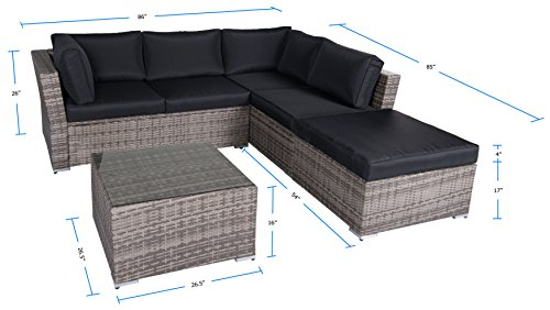 Suncrown-Outdoor-Furniture-Sectional-Sofa-4-Piece-Set-All-Weather-Grey-Checkered-Wicker-with-Black-Washable-Seat-Cushions-Glass-Coffee-Table-Patio-Backyard-Pool-Waterproof-Cover-Clips