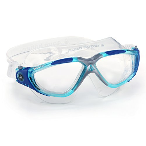 Aqua Sphere Vista Swim Mask Goggles, Clear, Aqua/Blue/Grey