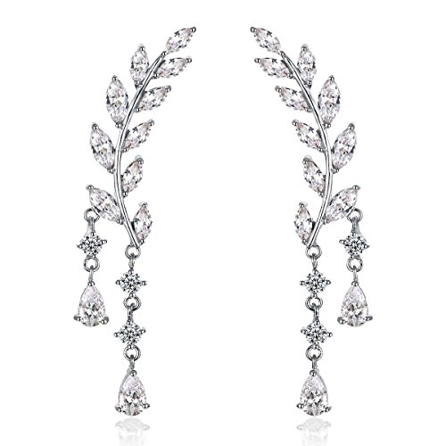 Odette 18K White Gold Plade Sweep Up Ear Cuffs Climbers Stud Set Drop Dangle Pierced Earrings Leaf Leaves
