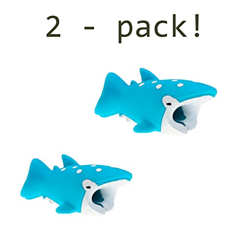 Quirkio - Cable Charger Animal Bite for iPhone Cord Protector Prime Accessories for Phones and Charging Cable (Whale Shark x2)