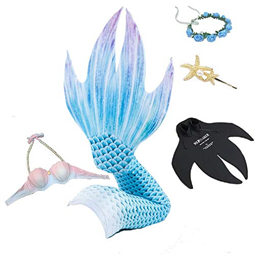Mermaid Tails for Swimming with Monofin - Girls and Women Set Blue