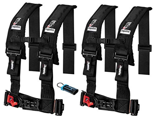 "Set of 2 Dragonfire Racing 4-Point 3"" H-Style Harness With Sternum Clip (3"") (Black) W Bypass Clip"