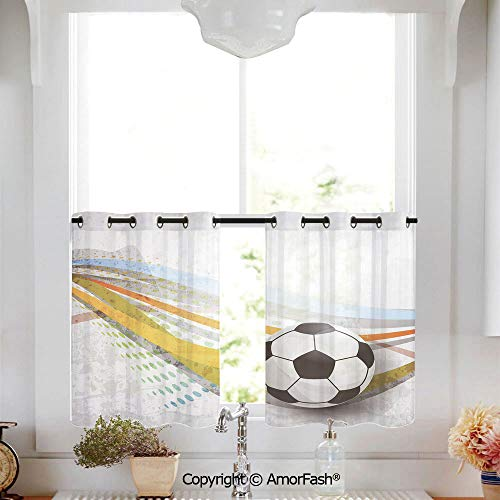 AmorFash Teen Room Decor Printed Tier Curtains for Kitchen Pattern Short Window Curtains,2 Panels,W52 x L45-Inch,Soccer Background with Football Colorful Lines Sports Game Digital Display Decorative