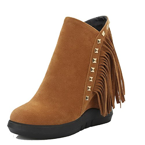 AmoonyFashion Womens Round Closed Toe Low-Top High-Heels Solid Imitated Suede Boots Brown qxXvnFGY