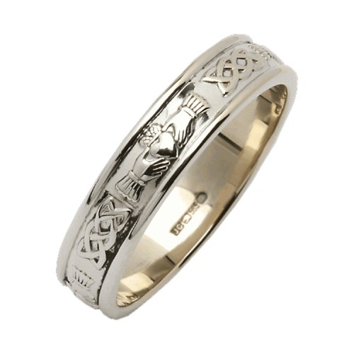 (Ladies Claddagh Wedding Ring Narrow Sterling Silver Irish Made 7.5)